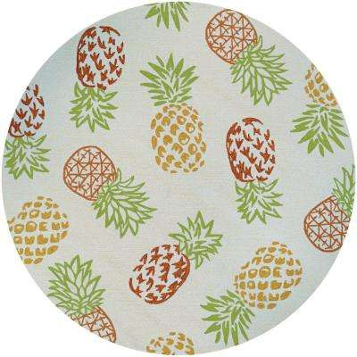 Covington Pineapples Sand 8 ft. x 8 ft. Round Indoor/Outdoor Area Rug