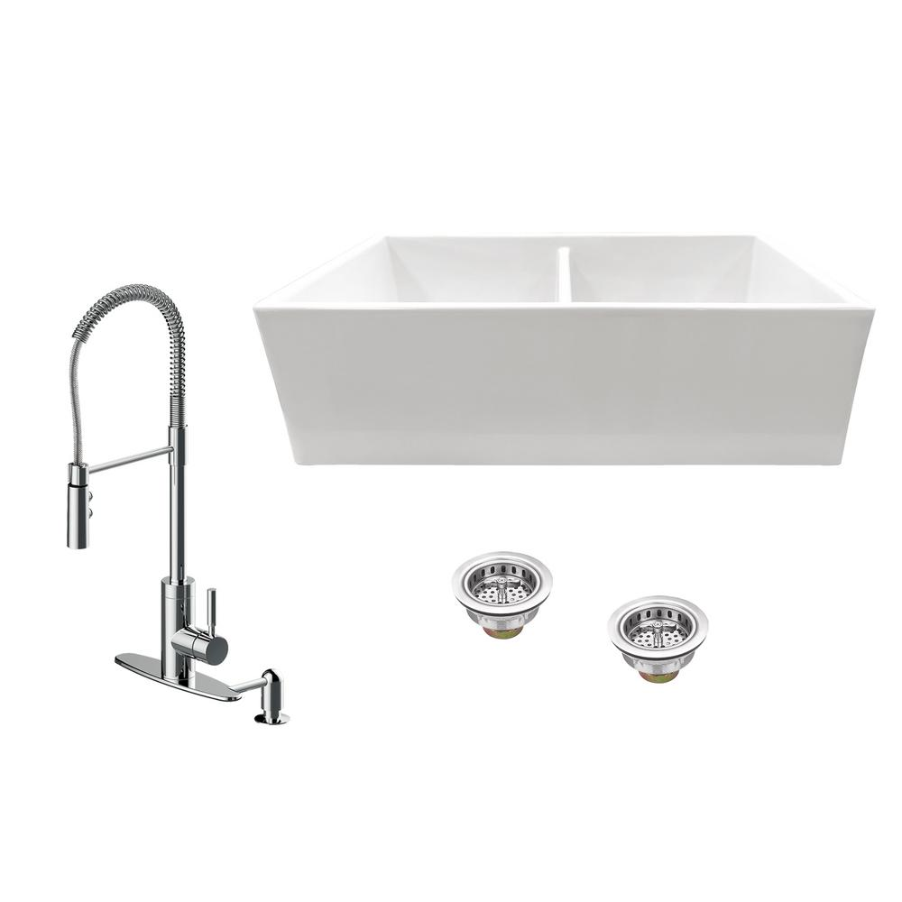 IPT Sink Company All-in-One Apron Front Fireclay 33 in. 50/50 Double Bowl Kitchen Sink with Faucet and Strainer in White