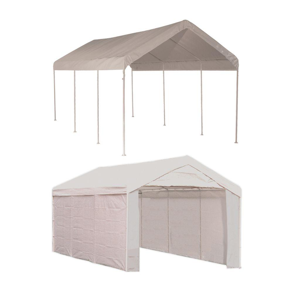 ShelterLogic 10 ft. W x 20 ft. D Max AP 2-in-1, 8-Leg Canopy in White with Enclosure Kit, Steel Frame, and Twist-Tie Tensions