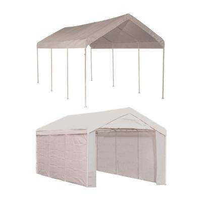 10 ft. W x 20 ft. D Max AP 2-in-1, 8-Leg Canopy in White with Enclosure Kit, Steel Frame, and Twist-Tie Tensions