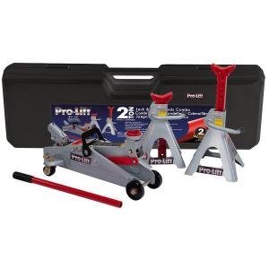 Pro-Lift 2 Ton Combo Kit in Plastic Case (2T Floor Jack and 2T Jack Stands) by Pro-Lift
