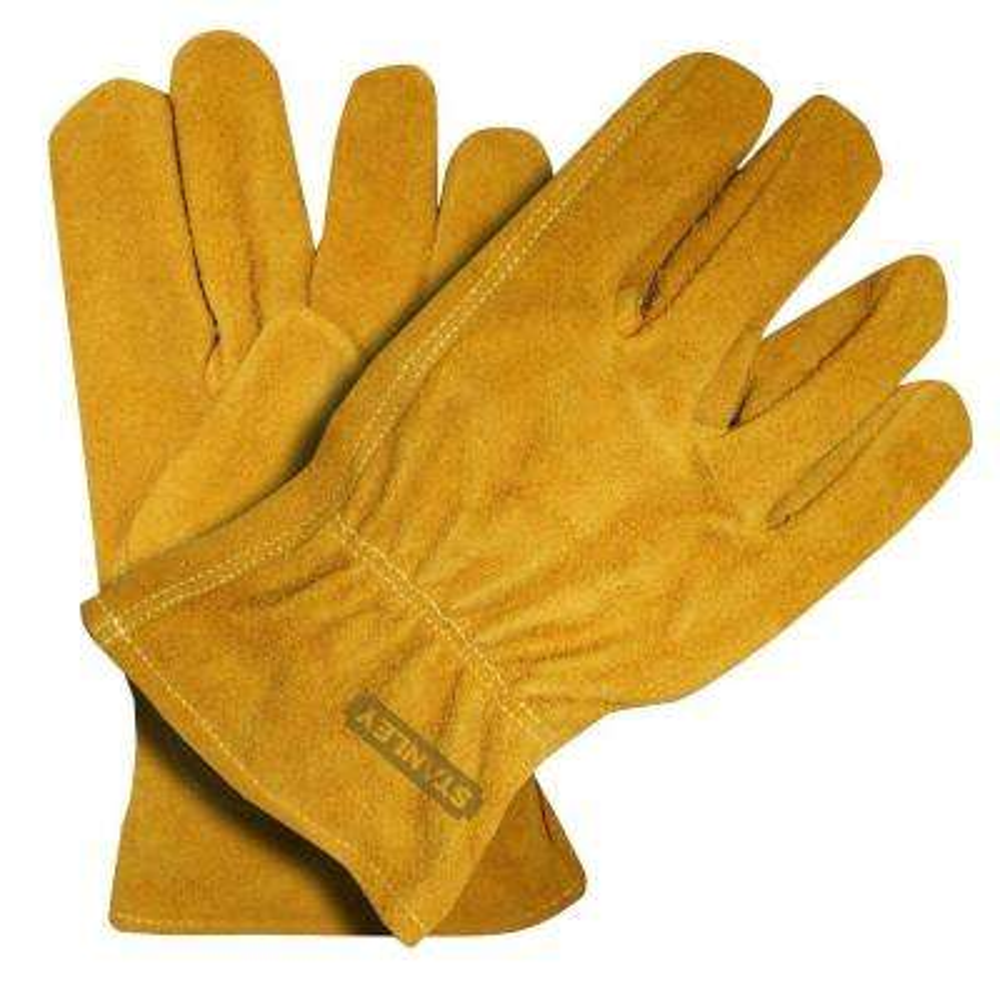 Large Tan/Brown Split Cowhide Leather Gloves (2-Pack)