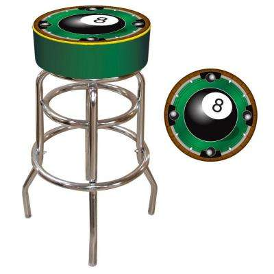Rack'em 8-Ball 31 in. Chrome Swivel Cushioned Bar Stool