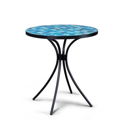 Larimer Blue and Black Round Metal Outdoor Bistro Table