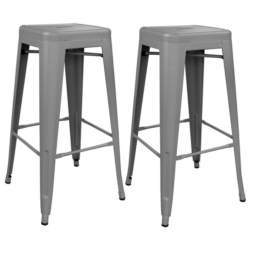 Loft Series 30 in. Indoor/Outdoor Stackable Anti-Rust Coated Metal Bar Stool in Gray (Set of 2)