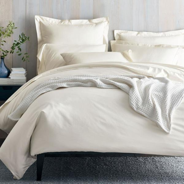 The Company Store Organic 300-Thread Count Cotton Sateen Ivory Full Duvet