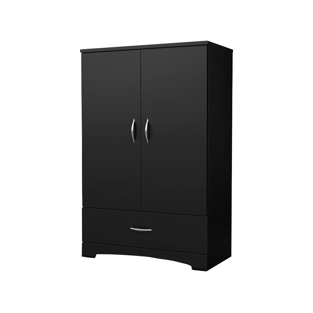 South Shore Step One Pure Black Armoire