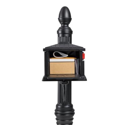Stratford All-in-One, Medium, Plastic, Mailbox & Post Combo, Black
