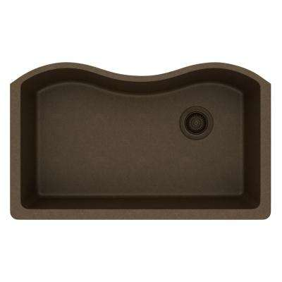 Quartz Classic Undermount Composite 33 in. Rounded Single Bowl Kitchen Sink in Mocha