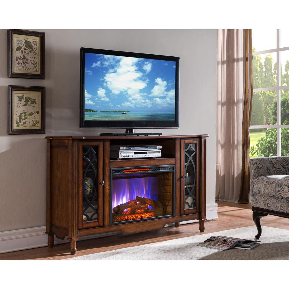 Media Console Electric Fireplace TV Stand In Brown Oak