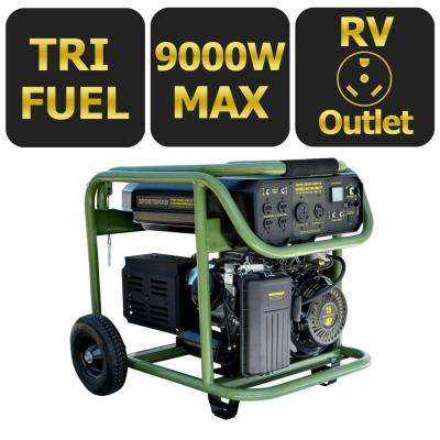 9,000-Watt Tri-Fuel Powered Electric Start Portable Generator
