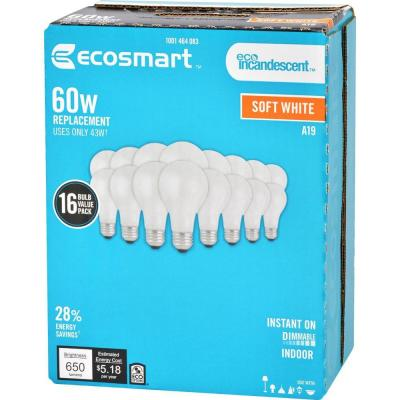 60-Watt Equivalent A19 Dimmable Halogen Light Bulb Soft White (16-Pack)