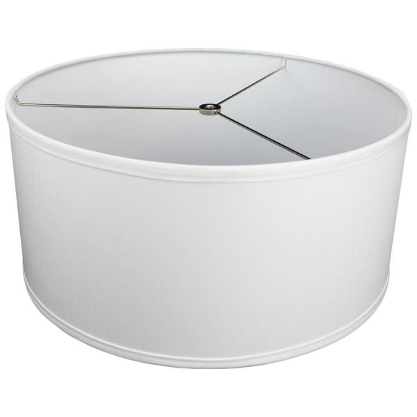 Fenchelshades Com 17 In Top Diameter X 17 In Bottom Diameter X 8 In H Linen White Drum Lamp Shade 17 17 8 W L Whi The Home Depot
