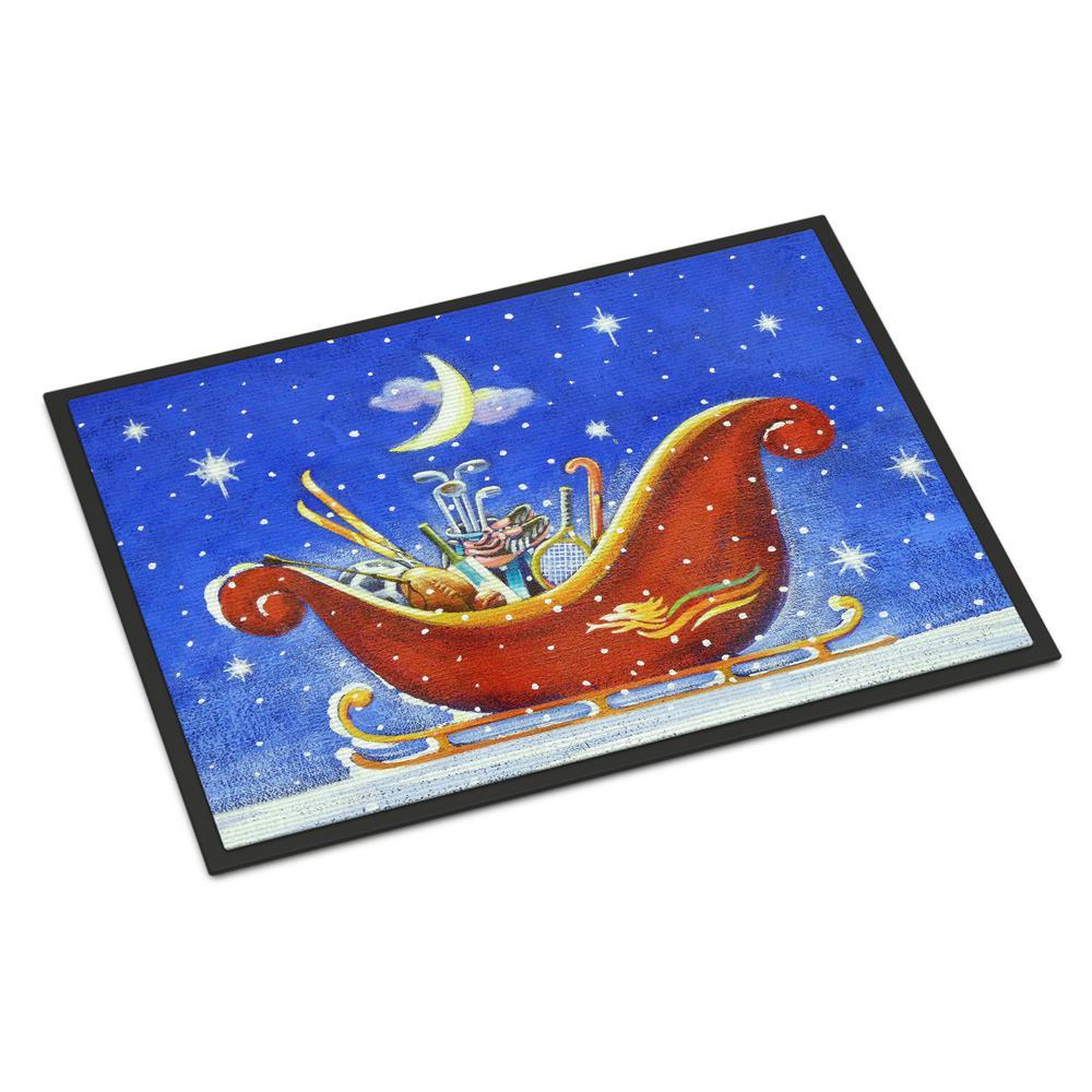 18 in. x 27 in. Indoor/Outdoor Christmas Santa's Sleigh by Roy Avis Door Mat