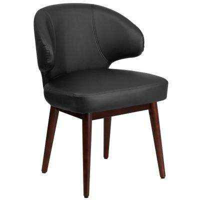 Comfort Back Series Black Leather Reception-Lounge-Office Chair with Walnut Legs