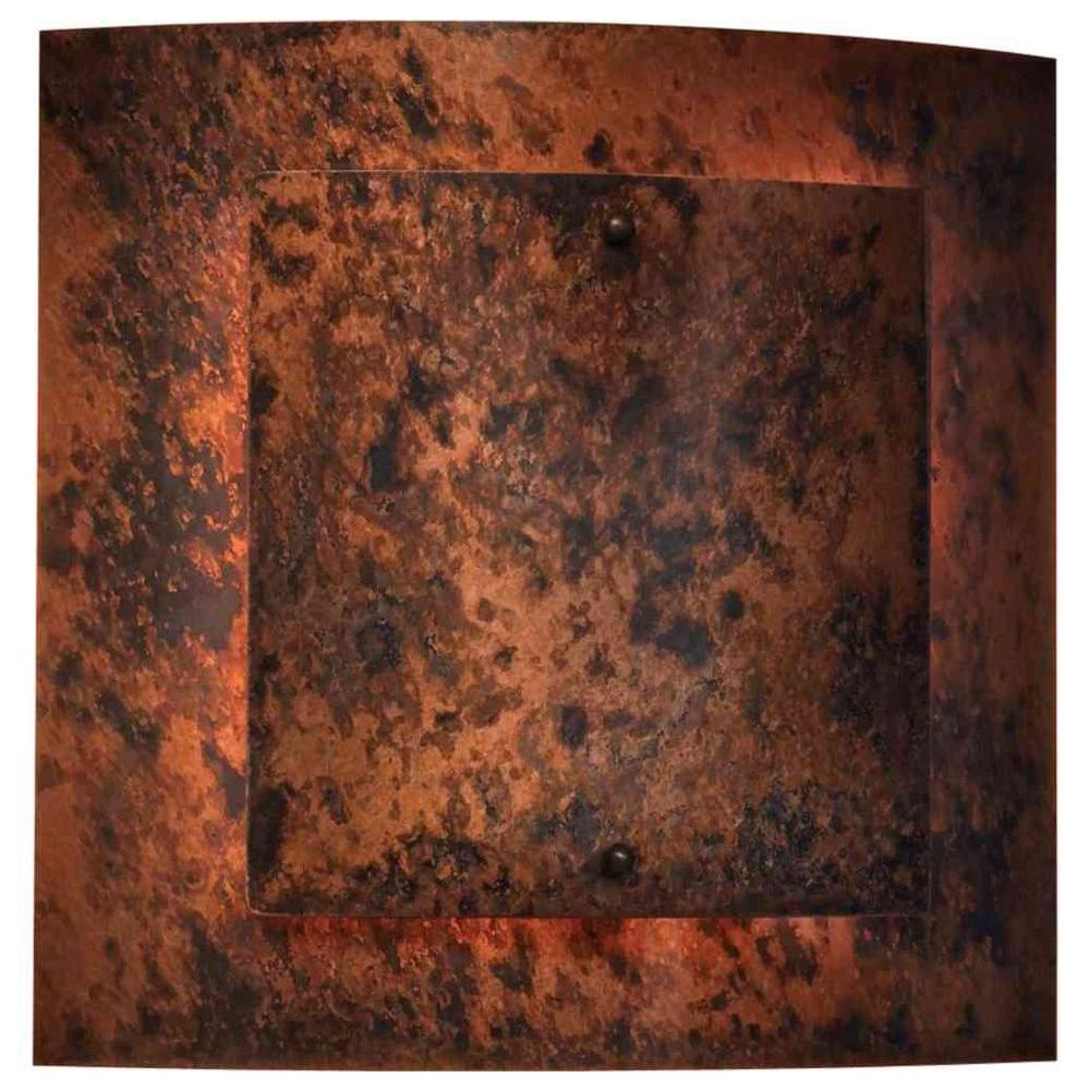 Filament Design 1-Light 12 in. Exterior Wall Sconce Burled Copper Plate Finish