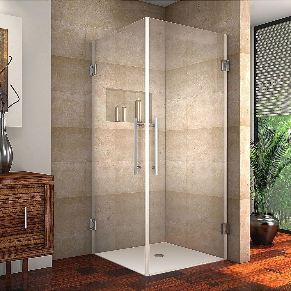 Aston Vanora 32 in. x 72 in. Frameless Square Shower Enclosure in ...