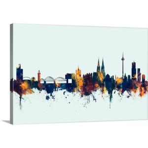 Greatbigcanvas 36 In X 24 In Cologne Germany Skyline By Michael Tompsett Canvas Wall Art 2525977 24 36x24 The Home Depot