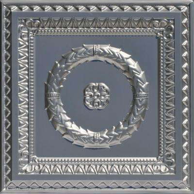 Laurel Wreath 2 ft. x 2 ft. PVC Glue-up or Lay-in Ceiling Tile in Silver