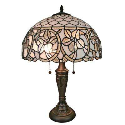 24 in. Tiffany Style Floral White Table Lamp