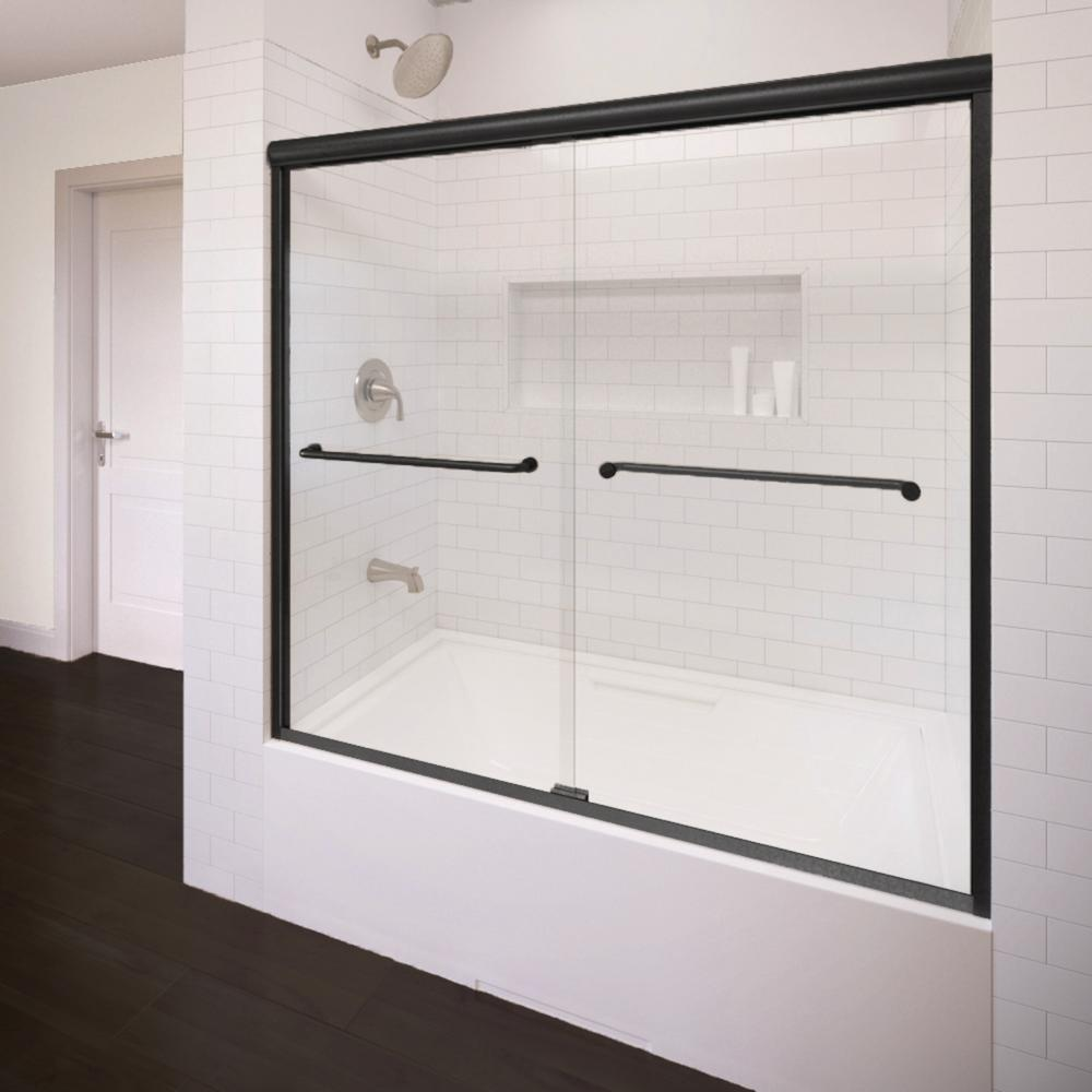 Infinity 58.5 in. x 57 in. Semi-Frameless Sliding Clear Glass Tub ...