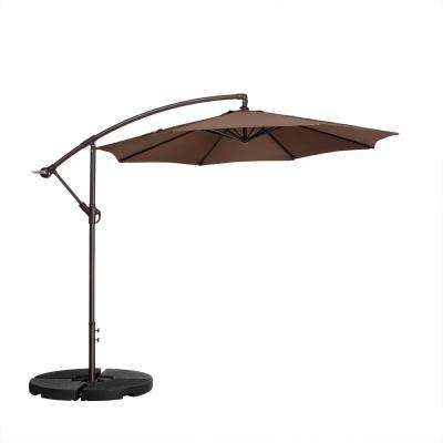 10 ft. Aluminum Cantilever Tilt Patio Umbrella in Brown