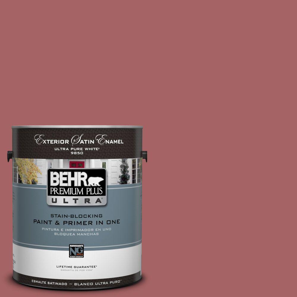 BEHR Premium Plus Ultra 1-Gal. #UL100-12 Rose Marquee Satin Enamel Exterior Paint-DISCONTINUED