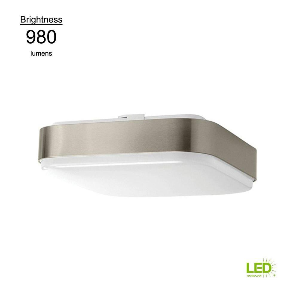 11 in. Brushed Nickel Bright White Square LED Flushmount Ceiling Light