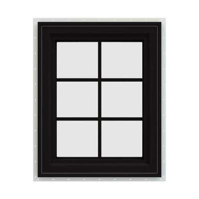 24 in. x 36 in. V-4500 Series Black FiniShield Vinyl Left-Handed Casement Window with Colonial Grids/Grilles