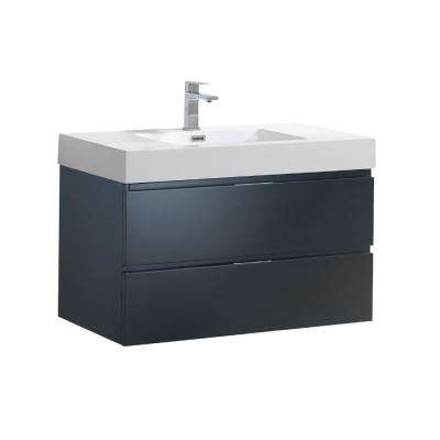 Valencia 36 in. W Wall Hung Bathroom Vanity in Dark Slate Gray with Acrylic Vanity Top in White