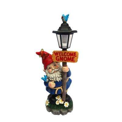 Solar Welcome Gnome with Street Light Post Statue-TM