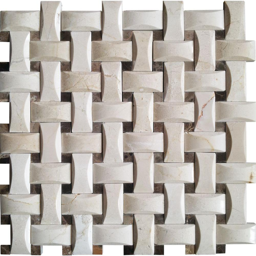MSI Crema Arched Basketweave 12 in. x 12 in. x 10mm Polished Marble Mesh-Mounted Mosaic Wall Tile