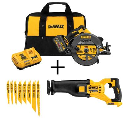 DEWALT FLEXVOLT 60-Volt MAX Li-Ion Cordless Brushless 7-1/4 in. Circ Saw with Bonus Recip Saw (Tool-Only) and Recip 8-Blade...