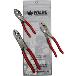 Wilde Tool 6-1/2 inch x 10 inch Slip Joint Pliers Set (3-Piece) by Wilde Tool