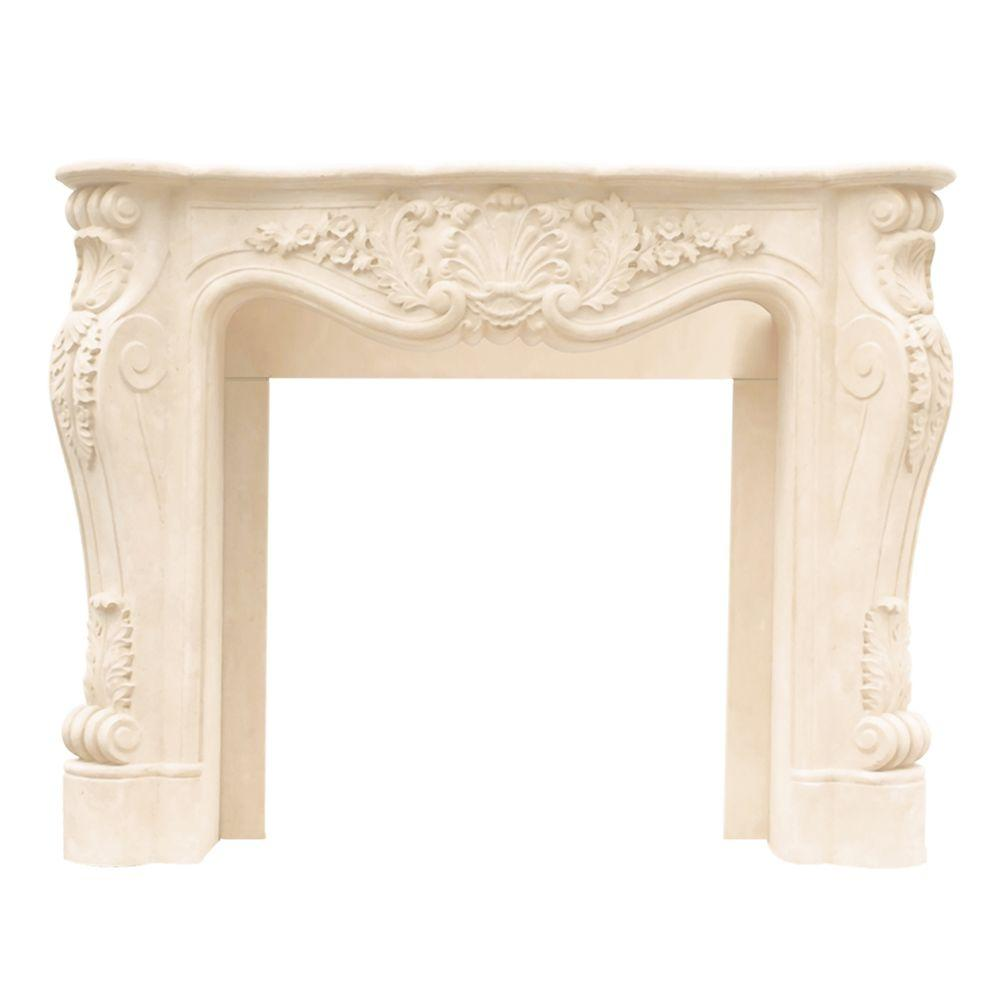 Historic Mantels Designer Series Louis XIII 47 in. x 53 in. Cast Stone Mantel