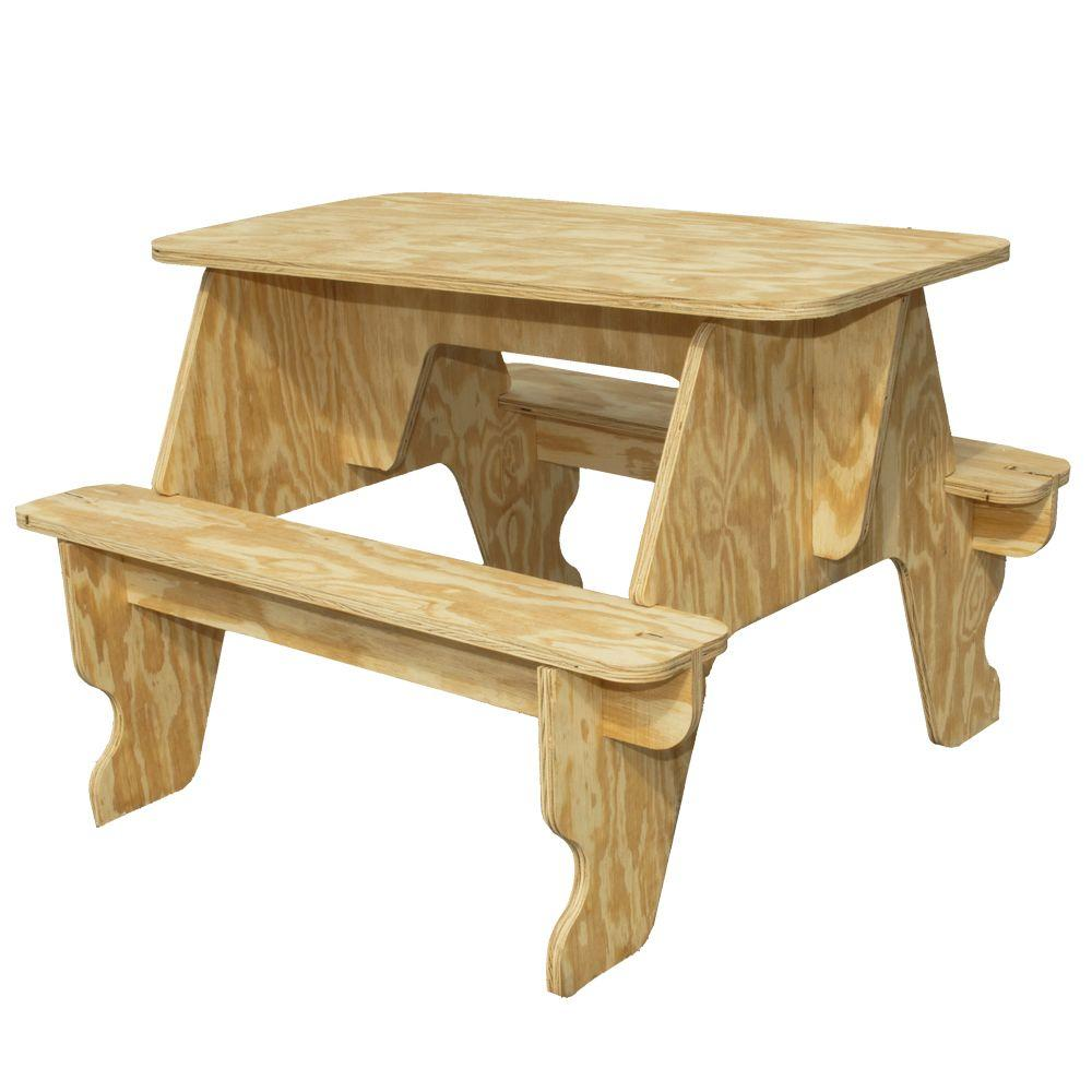 Houseworks Unfinished Wood Quick Assembly Small Picnic Table 94701   The Home  Depot