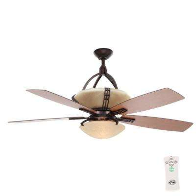 Miramar 60 in. Indoor Weathered Bronze Ceiling Fan with Light Kit and Remote Control
