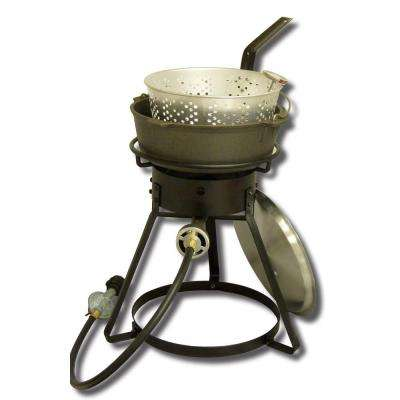 54,000 BTU Bolt Together Propane Gas Outdoor Cooker with 6 qt. Cast Iron Pot, Aluminum Basket and Lid