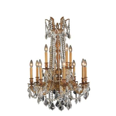 Windsor Collection 12-Light French Gold and Clear Crystal Chandelier