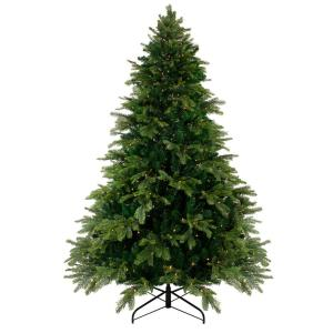 6.5 ft. Pre-Lit Woodcrest Pine Artificial Christmas Tree with Warm White LED Lights