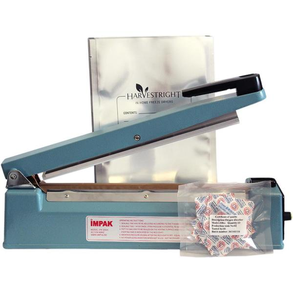Mylar Starter Kit with 50-Mylar Bags, 50-Oxygen Absorbers and 12 in. Impulse Sealer
