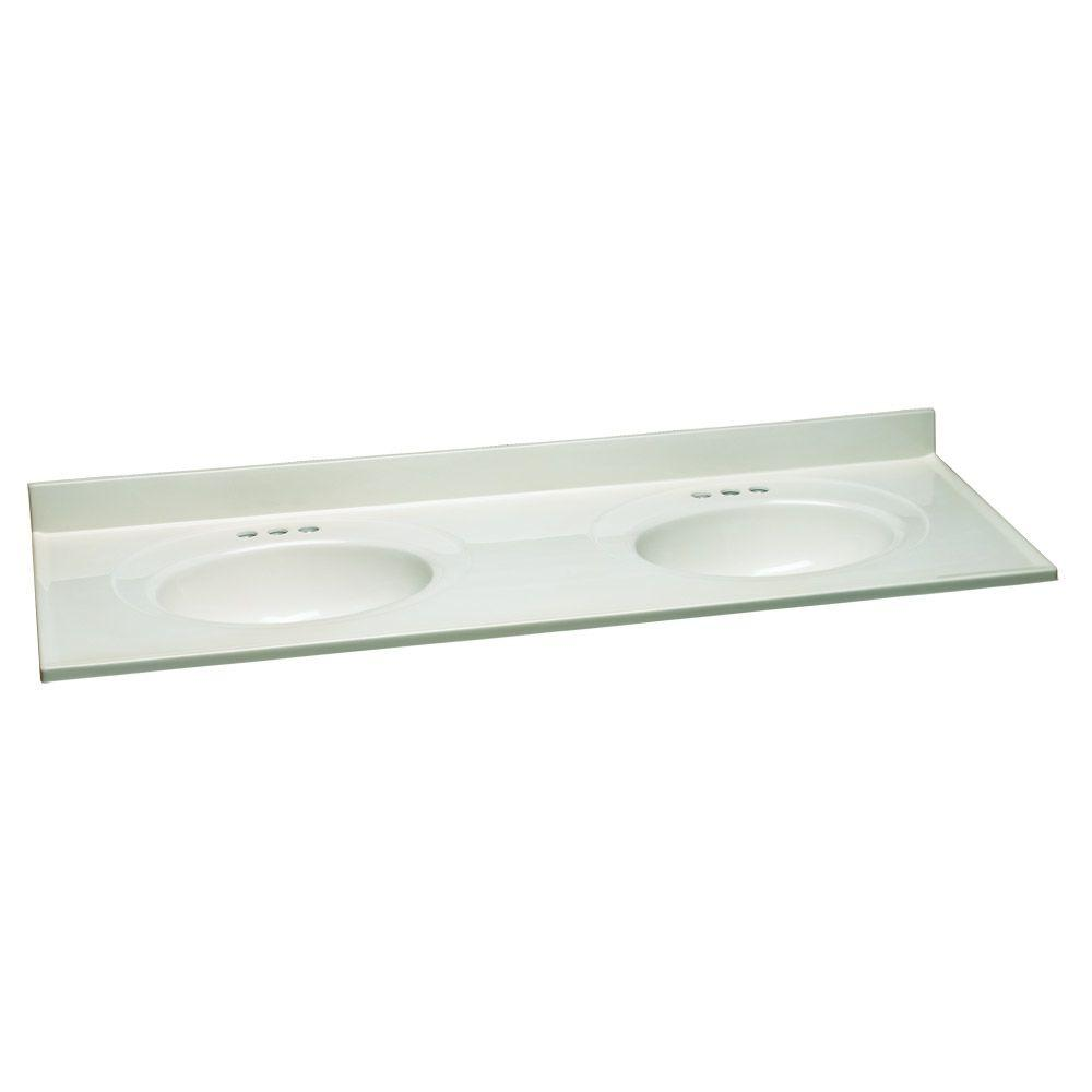 61 in. W Cultured Marble Vanity Top in White with White
