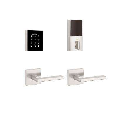 Obsidian Satin Nickel Keyless Electronic Touchscreen Deadbolt with Halifax Passage Lever