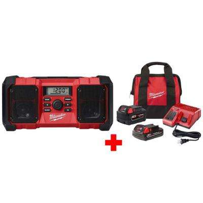 M18 Lithium-Ion Cordless Jobsite Radio with M18 Starter Kit with One 5.0 Ah and One 2.0 Ah Battery, Bag and Charger