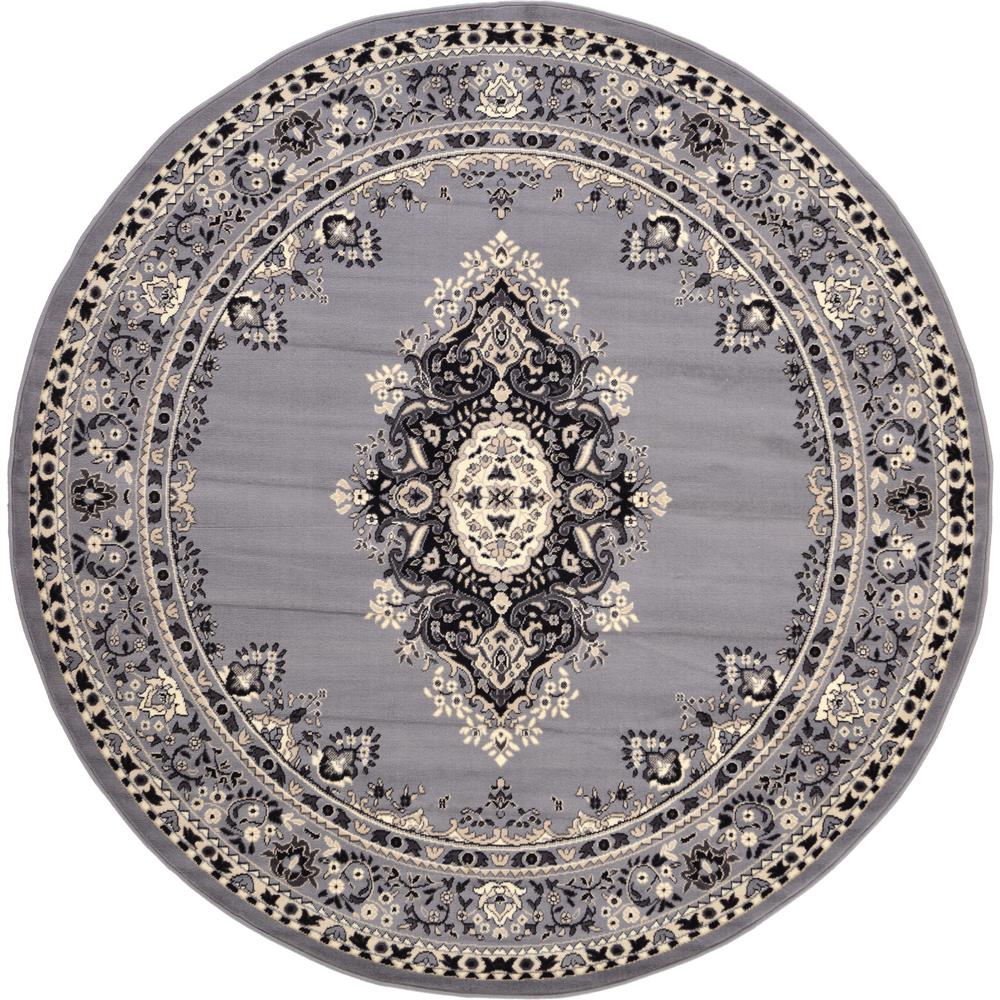 Unique Loom Mashad Gray 8 Ft Round Area Rug 3119172 The