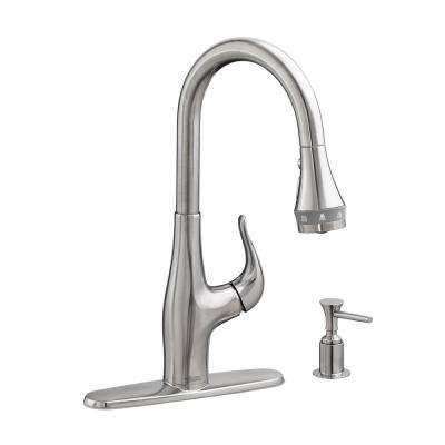 Xavier SelectFlow Single-Handle Pull-Down Sprayer Kitchen Faucet with Soap Dispenser in Stainless Steel