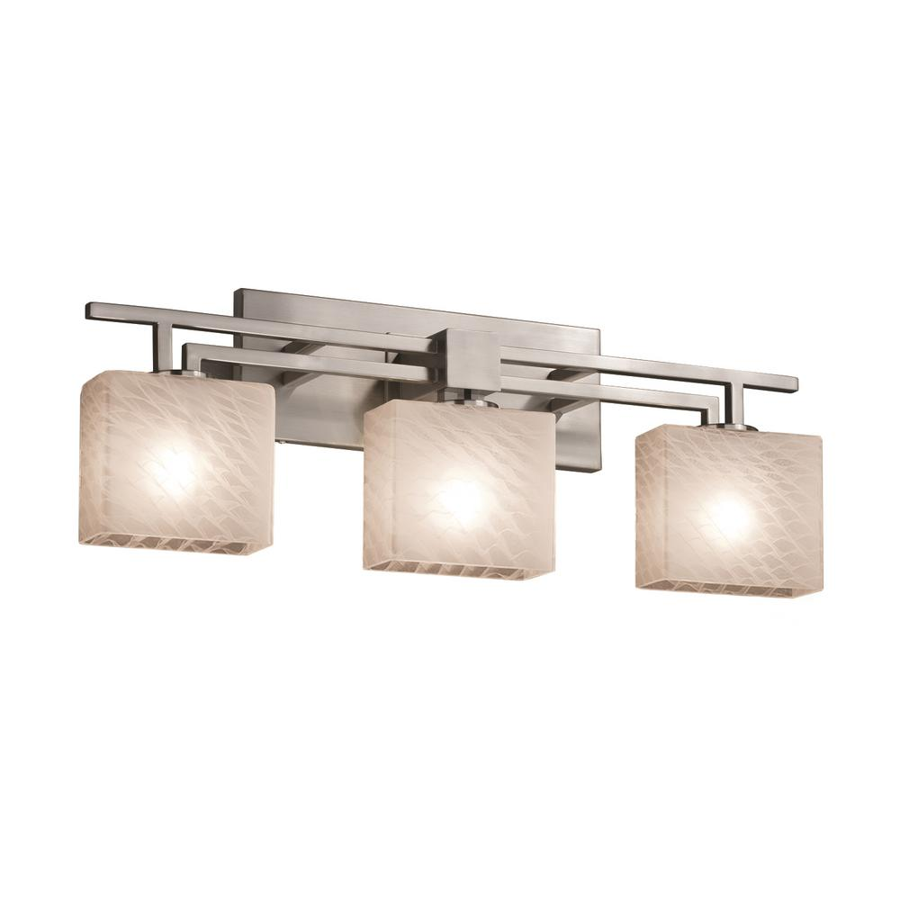 Justice Design Fusion Aero 3 Light Brushed Nickel Bath With Weave Shade