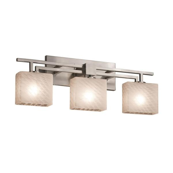 Justice Design Fusion Aero 3 Light Brushed Nickel Bath Light With Weave Shade Fsn 8703 55 Weve Nckl The Home Depot