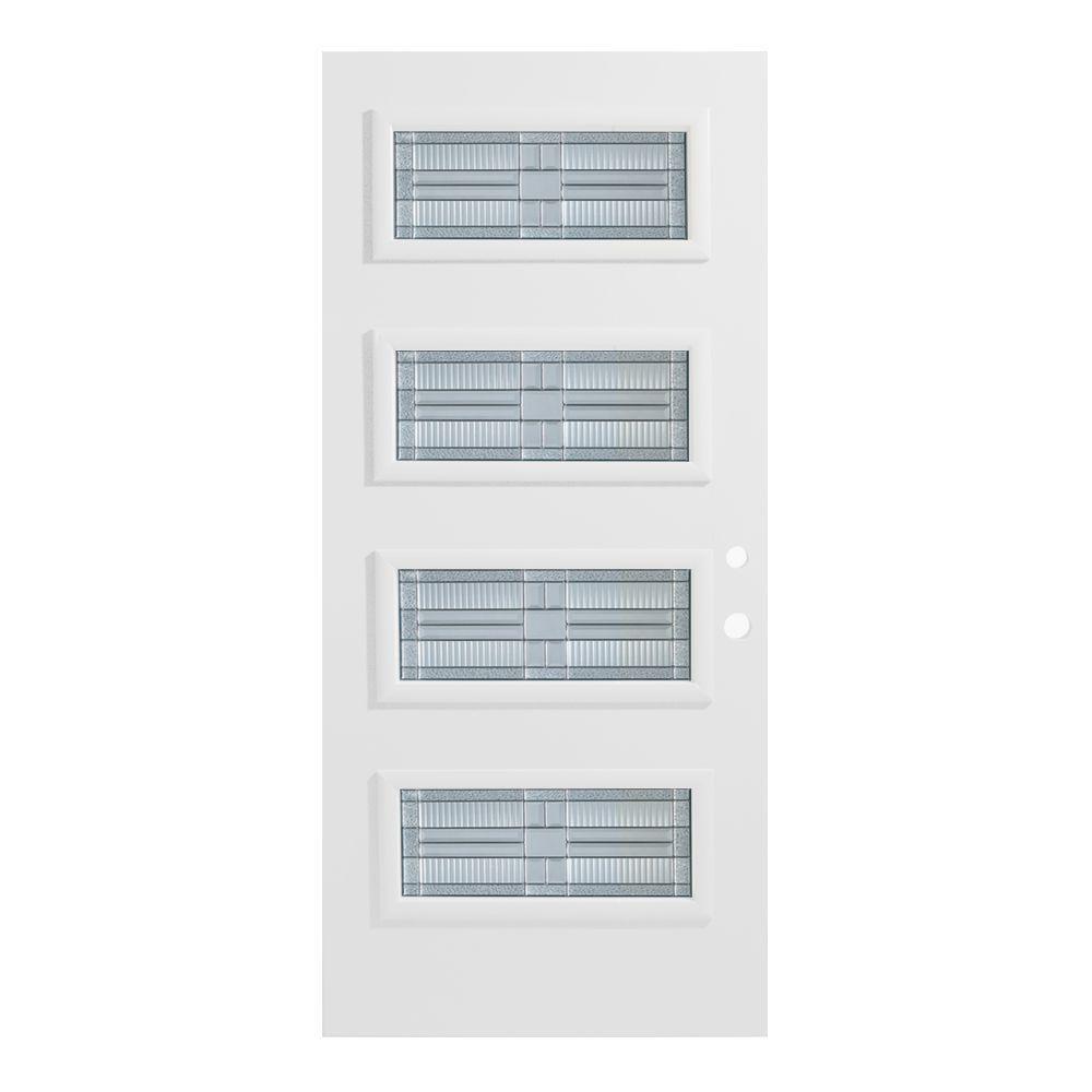 Stanley Doors 33.375 in. x 82.375 in. Seattle 4 Lite Painted White Left-Hand Inswing Steel Prehung Front Door