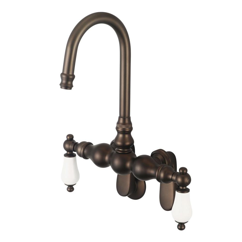 Kingston Brass Victorian 3-Handle Tub Wall Claw Foot Tub Faucet ...